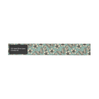 Rustic vintage butterfly and flowers on turquoise wraparound address label