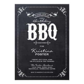Rustic Vintage Chalkboard Birthday Party BBQ Announcements