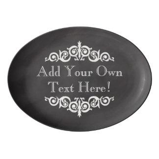 Rustic Vintage Chalkboard Custom Personalized Porcelain Serving Platter
