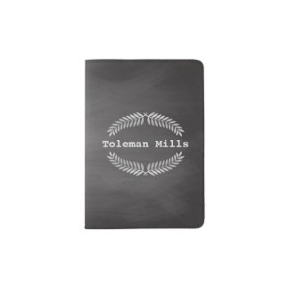 Rustic Vintage Chalkboard Monogram Silver Wreaths Passport Holder