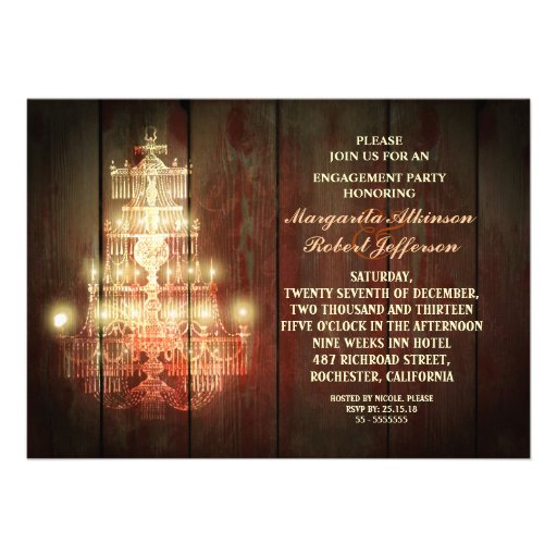 rustic vintage chandelier engagement party invites