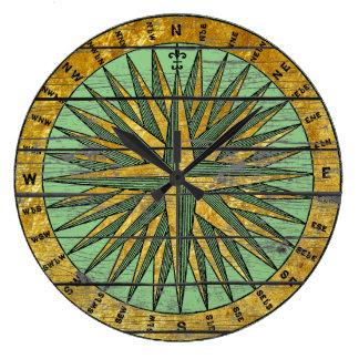 Rustic Vintage Compass Personalize Color Clocks