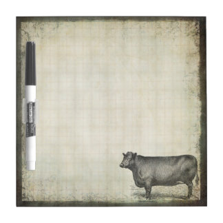 Rustic Vintage Cow | Barnyard | Farm Animals Dry Erase Board