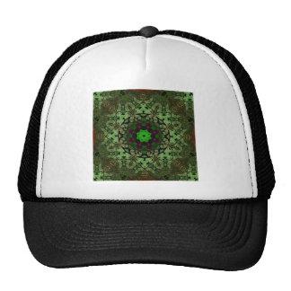 rustic vintage distressed green damask pattern mesh hat