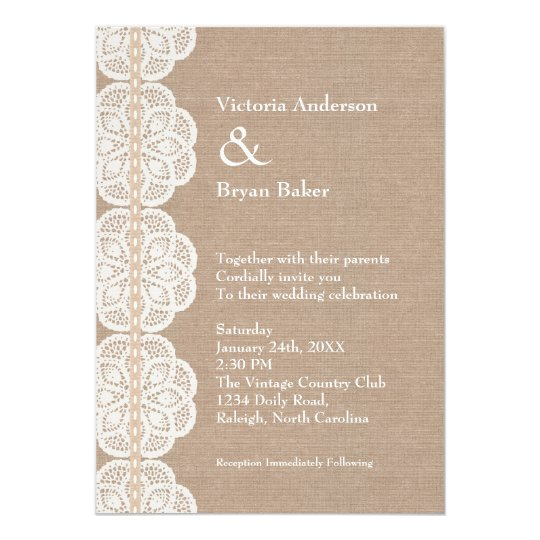 Rustic Vintage Doily Wedding Invitation