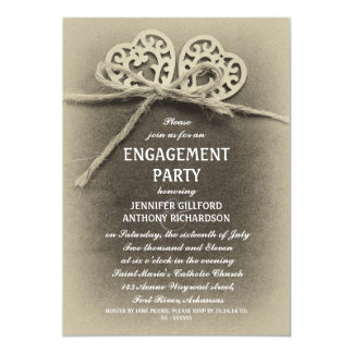 rustic vintage engagement party invitation
