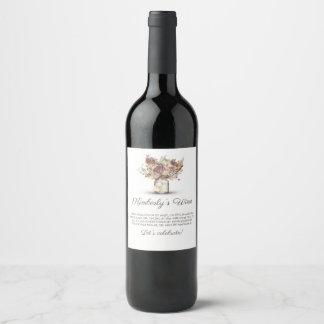 Rustic Vintage Floral Mason Jar Wine Label