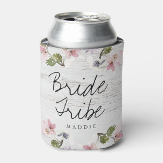 Rustic Vintage Floral Wood Bridesmaid Bride Tribe Can Cooler
