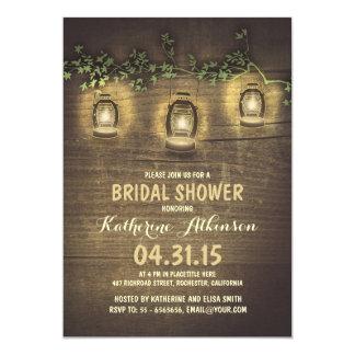 rustic vintage garden lights wood bridal shower custom invites