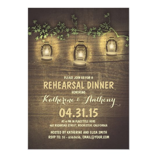 rustic vintage garden lights wood rehearsal dinner card
