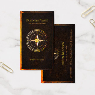 Rustic Vintage Gold Compass Nautical Boating Business Card