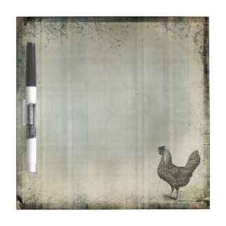 Rustic Vintage Hen | Chicken | Farm Animals Dry Erase Board