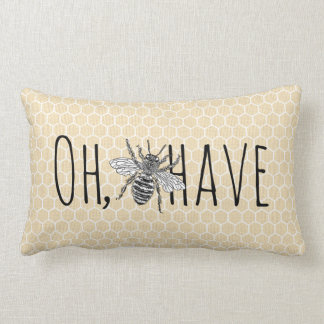 Rustic Vintage Honeycomb   Funny Oh Bee-Have Lumbar Cushion