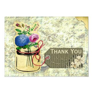 rustic vintage hydrangea roses mason jar thank you invites