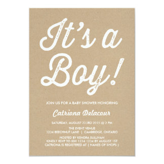 RUSTIC VINTAGE | IT'S A BOY BABY SHOWER INVITATION