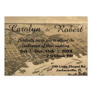 Rustic Vintage Jacksonville Map Wedding Invitation