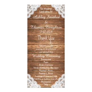 Rustic Vintage Lace Brown Wood Wedding Programs Rack Card