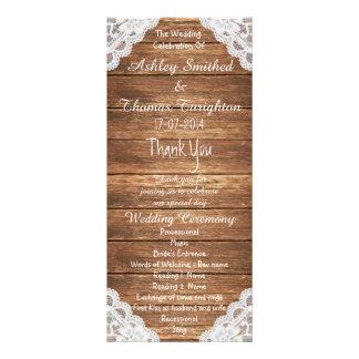 Rustic Vintage Lace Brown Wood Wedding Programs Rack Card Design