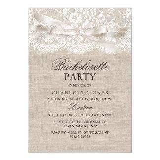 Rustic Vintage Lace Burlap Bachelorette Party 13 Cm X 18 Cm Invitation Card