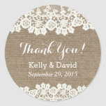 Rustic Vintage Lace & Burlap Wedding Favour Round Sticker