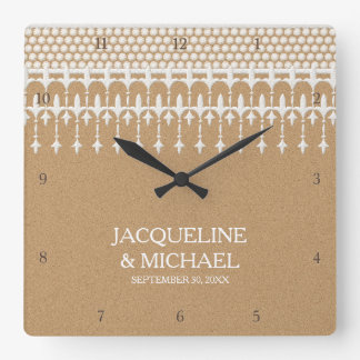 Rustic Vintage Lace Kraft Paper Script Typography Square Wall Clock