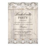 Rustic Vintage Lace & Wood Bachelorette Party 13 Cm X 18 Cm Invitation Card