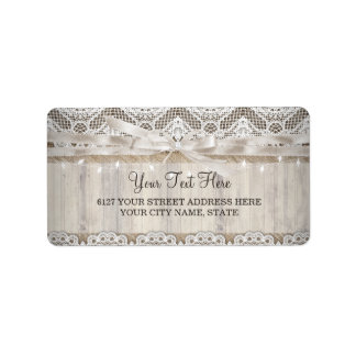 Rustic Vintage Lace Wood Wedding Lights Label Address Label