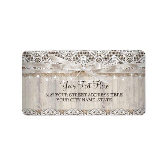 Rustic Vintage Lace Wood Wedding Lights Label Address Label
