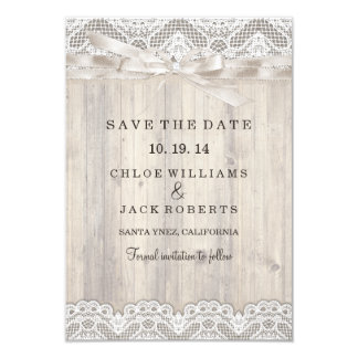 Rustic Vintage Lace & Wood Wedding Save The Date 9 Cm X 13 Cm Invitation Card