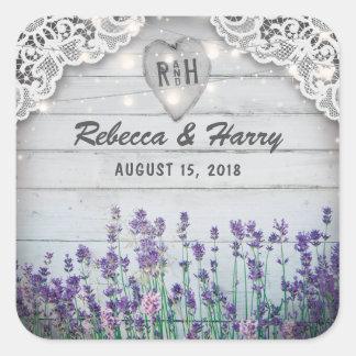 Rustic Vintage Lavender Wedding Favors Square Sticker
