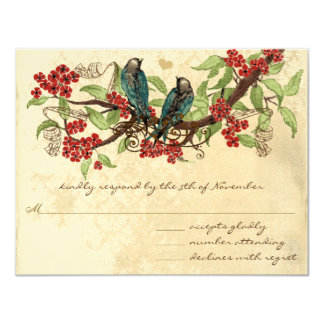Rustic Vintage Love Bird Red Wedding RSVP Personalized Invitations