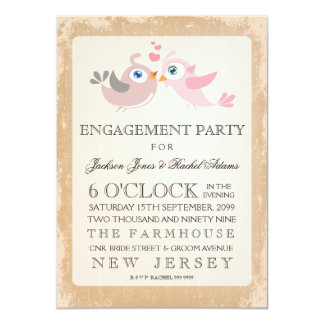 Rustic Vintage Love Birds Engagement Party Invite