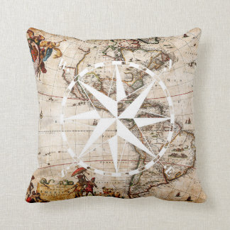Rustic Vintage Map and Compass Elegant and Chic Cushion