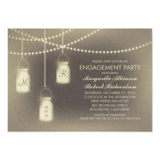 rustic vintage mason jar lights engagement party 13 cm x 18 cm invitation card