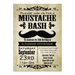 Rustic Vintage Moustache Bash Party Personalised Invitations