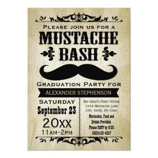 Rustic Vintage Mustache Bash Graduation Party Announcements
