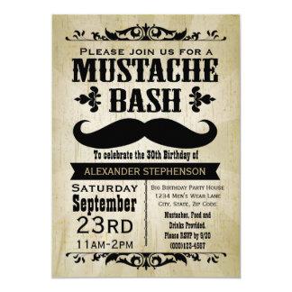 Rustic Vintage Mustache Bash Party 13 Cm X 18 Cm Invitation Card