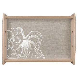 Rustic Vintage Octopus Illustration Serving Tray