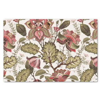 Rustic Vintage Paisley flower on creamy background Tissue Paper
