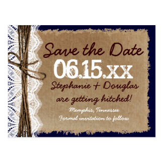 Rustic Vintage Paper Teal Save the Date Postcards