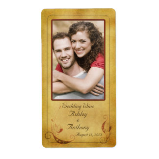 Rustic Vintage Photo Wedding Wine Bottle Labels