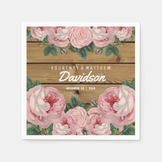 Rustic Vintage Pink Rose Wedding Disposable Napkin