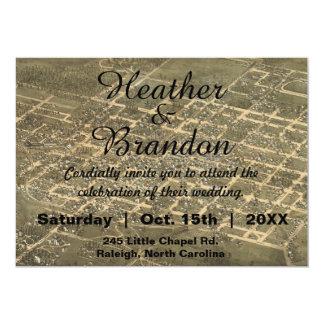 Rustic Vintage Raleigh NC Map Wedding Invitation