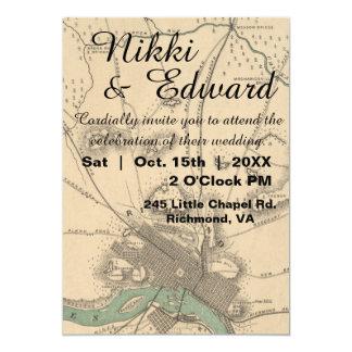 Rustic Vintage Richmond VA Map Wedding Invitation