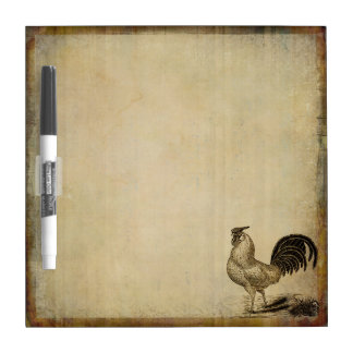 Rustic Vintage Rooster | Chicken | Farm Animals Dry Erase Board