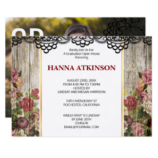 Rustic vintage rose imprinted wood lace graduation card