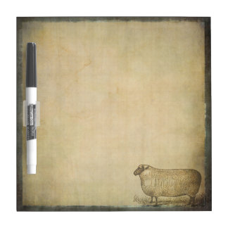 Rustic Vintage Sheep | Barnyard Farm Animals Dry Erase Board