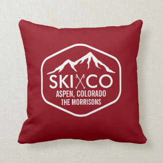 Rustic Vintage Ski Mountain & Poles Aspen Colorado Throw Pillow