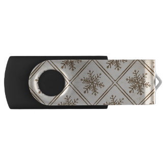 Rustic Vintage Snowflake Swivel USB 2.0 Flash Drive