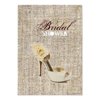 Rustic vintage stamps burlap country Bridal shower 13 Cm X 18 Cm Invitation Card